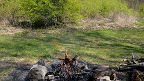 Fireplace for preparing food, outdoor travel stock footage