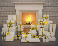 Fireplace with presents on wooden floor. Holiday Royalty Free Stock Photo
