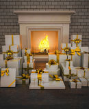 Fireplace with presents on wooden floor. Vertical Royalty Free Stock Photo