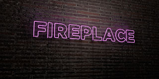 FIREPLACE -Realistic Neon Sign on Brick Wall background - 3D rendered royalty free stock image. Can be used for online banner ads and direct mailers Royalty Free Stock Photography