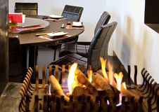 Fireplace in restaurant Stock Image
