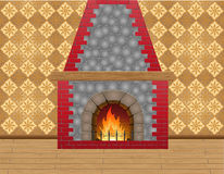Fireplace in the room. Vector illustration Stock Image
