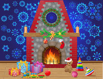 Fireplace room with christmas gifts. And decorations vector illustration Stock Photo