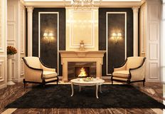 Beautiful fireplace room in classic style. Fireplace room in classic style stock images