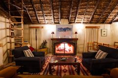 Fireplace room in a cottage in the African savanna Royalty Free Stock Image