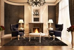 Fireplace room design in big house. Fireplace room design in big beautiful house royalty free illustration