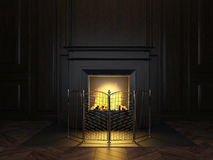 Fireplace in the room Stock Images