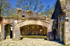 The fireplace of ruined Wycoller Hall Stock Photography