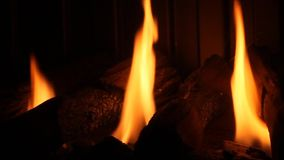 Fireplace. 30 second video of gas powered fireplace stock video