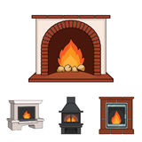 Fireplace set collection icons in cartoon style vector symbol stock illustration web. Fire, warmth and comfort. Fireplace set collection icons in cartoon style Royalty Free Stock Image
