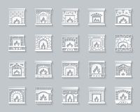 Fireplace simple paper cut icons fire vector set royalty free illustration