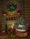Fireplace_snowglobe. Computer-generated 3D illustration depicting a holiday-decorated fireplace with a snow globe on a table Stock Photo