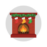 Fireplace and Socks. In christmas eve Stock Images