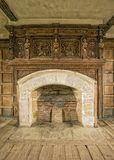 Fireplace, Solar, Stokesay Castle, Shropshire, England. The fireplace in the apartment that was Laurence of Ludlow`s living accommodation when he built the Royalty Free Stock Images
