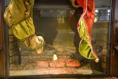 Fireplace stockings Stock Photos