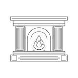 The fireplace in the style of the line of fire. Vector illustration Stock Images