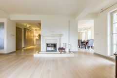 Fireplace in stylish house Royalty Free Stock Photos