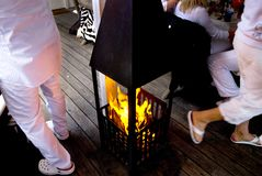 Fireplace in a summer party Stock Image