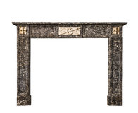 Fireplace surround in grey white marble antique Victorian isolat Stock Photography
