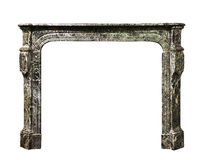 Fireplace surround in grey white marble antique Victorian isolat royalty free stock photos