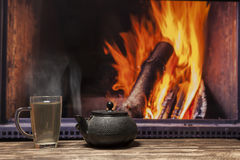 Fireplace tea at home Royalty Free Stock Images