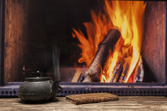 Fireplace tea at home Royalty Free Stock Image