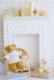 Fireplace and teddy bears Royalty Free Stock Photos