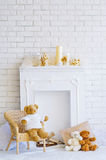 Fireplace and teddy bears Stock Image