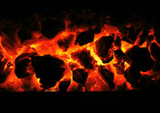 Fireplace texture. Hot red  background from the home fireplace Royalty Free Stock Photo