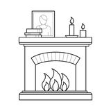 Fireplace in thin line style. Room fireplace for firewood in outline style. House interior element for home decoration in thin linear style. Flat vector outline Stock Images