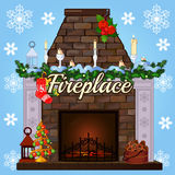 Fireplace with tree, gift socks and candles Royalty Free Stock Image