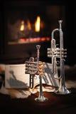 Fireplace, trumpet, music Stock Photo