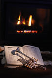Fireplace, trumpet, music Stock Photography