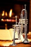 Fireplace, trumpet, music Stock Photos
