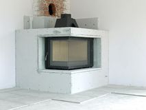 Fireplace under construction Royalty Free Stock Image