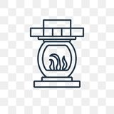 Fireplace vector icon isolated on transparent background, linear vector illustration