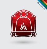 Fireplace vector icon, triangle. Stock Images
