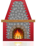 Fireplace vector illustration Royalty Free Stock Photo