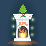 Fireplace. Vector illustration. Christmas card banner. Happy winter holidays Royalty Free Stock Images