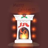 Fireplace. Vector illustration. Christmas card banner. Happy winter holidays Stock Photography