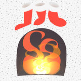Fireplace. Vector illustration. Christmas card banner. Happy winter holidays Stock Image