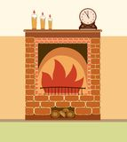 Fireplace vector illustration. Elements of home design Stock Image