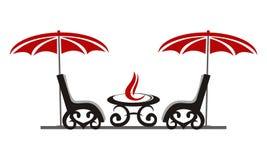 Fireplace and Verandah. Logo Design Template Vector Stock Photo