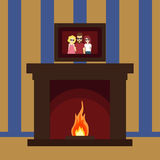 Fireplace on the wall. With the picture Christmas hearth - vector Royalty Free Stock Images