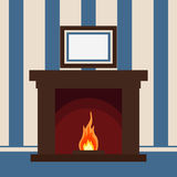 Fireplace on the wall. With the picture Christmas hearth - vector Stock Image