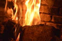 Fireplace. Warm and cosy Fireplace Royalty Free Stock Photo