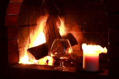 Fireplace wine Stock Images