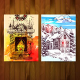 Fireplace and winter landscape. Set of christmas cards. Sketches of fireplace and winter landscape with house and mountains Royalty Free Stock Photos