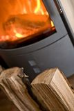 Fireplace with wood Royalty Free Stock Photography