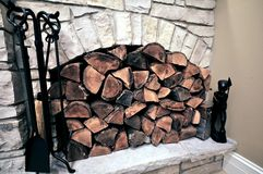 Fireplace Wood Royalty Free Stock Images